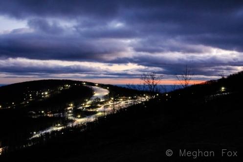 lights on nighttime slopes.