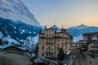 sunset over Grindelwald and the Alps, as seen from our balcony